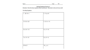 BUNDLE! Solving One-Step Linear Equations Differentiated Math Centers Activity