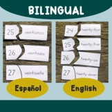 BUNDLE - Spanish AND English numbers puzzles 0-99 with bil