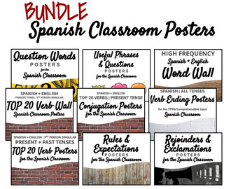 SPANISH CLASSROOM POSTERS BUNDLE - everything you need!