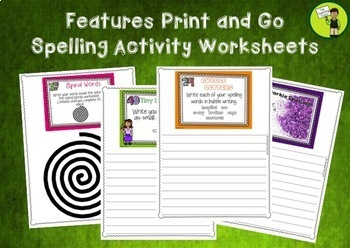 BUNDLE Spelling Activity Task Cards - Print and Go Student Worksheets - USA