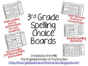 3rd Spelling Choice Boards! (Also Includes Parent Letter & Pretest Slips)
