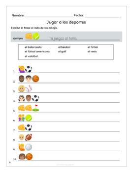 Spanish Sports (Deportes) Worksheets with Emojis BUNDLE