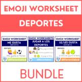Spanish Sports (Deportes) Worksheets with Emoji Puzzles BUNDLE