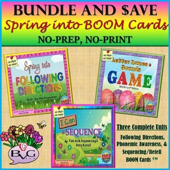 BUNDLE Spring Three Complete BOOM CARD Units NO PRINT - Teletherapy