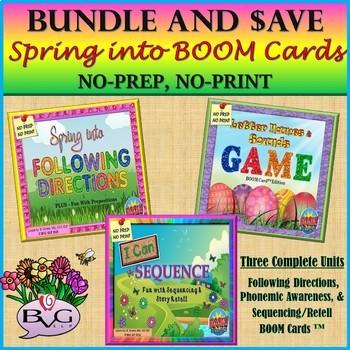 BOOM CARDS BUNDLE Speech Language Literacy Spring Three Units - Teletherapy