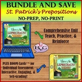 BUNDLE St Patrick's Day Prepositions and Forming Sentences Plus BOOM CARDS