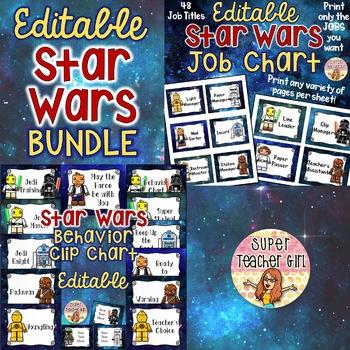 BUNDLE Star Wars Job Chart & Behavior Chart EDITABLE