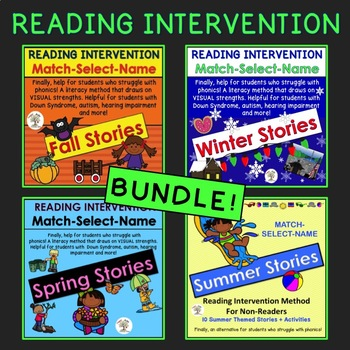 BUNDLE: Stories for all seasons: Match, Select, Name (Down Syndrome, SpEd.)