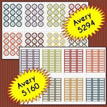 BUNDLE Stripe Labels Editable Classroom Notebook Folder Name Tags (FALL)