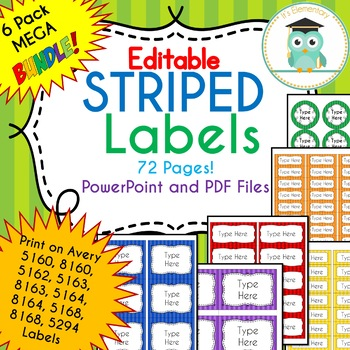 BUNDLE Stripe Labels Editable Classroom Notebook Folder Name Tags (RAINBOW)