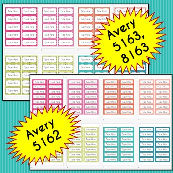 BUNDLE Stripe Labels Editable Classroom Notebook Folder Name Tags (PARTY)