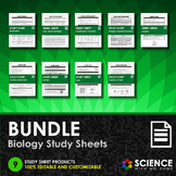 BUNDLE - Study Sheets for Biology