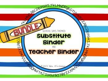 BUNDLE School Days Theme - Sub Tub Substitute Binder and Teacher Binder