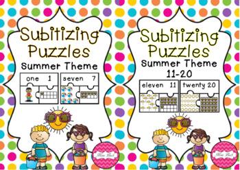 BUNDLE! Subitizing Puzzles 1-20 Summer Theme