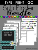 BUNDLE: Substitute Binder- Editable Covers & Forms and 1st-2nd Materials