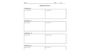 BUNDLE! Substitution Differentiated Activity - Solving One-Step Linear Equations