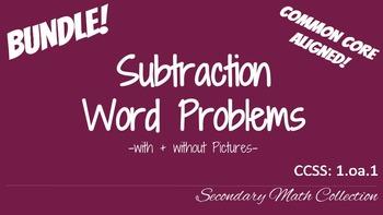 BUNDLE! Subtraction Word Problems CCSS 1.oa.1