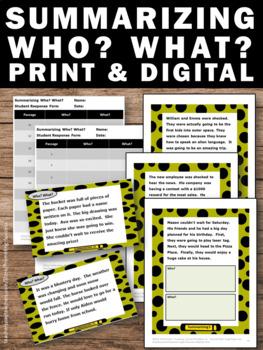 Summarizing Passages, wh Questions BUNDLE, Summarizing Task Cards & Worksheets