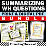 Summarizing Activities, wh Questions Comprehension, Language Arts BUNDLE
