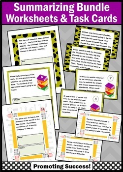 Summarizing Activities BUNDLE, wh Questions Worksheets & Task Cards