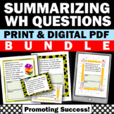 Summarizing Activities for 4th Grade BUNDLE wh Questions Worksheets & Task Cards