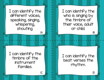 BUNDLE: TEKS Music I Can Statements K-2