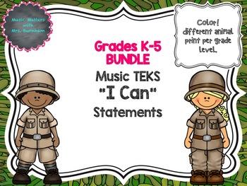 BUNDLE: TEKS Music I Can Statements K-5