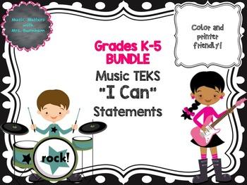 BUNDLE: TEKS Music I Can Statements K-5 BW Polka Dot