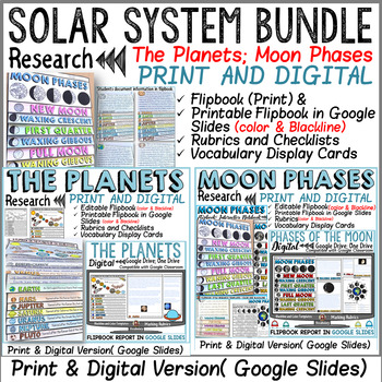 SOLAR SYSTEM BUNDLE: PLANETS AND MOON PHASES: PRINT& DIGITAL: GOOGLE CLASSROOM