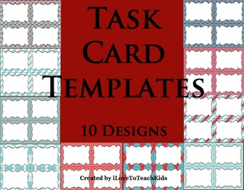 BUNDLE Task Cards Blank Templates 10 Designs TASK CARDS