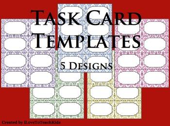 BUNDLE Task Cards Blank Templates 5 Designs TASK CARDS