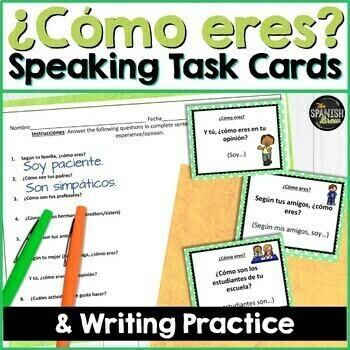 BUNDLE Task cards Likes, description, adjectives (Realidades Spanish 1 1A 1B)