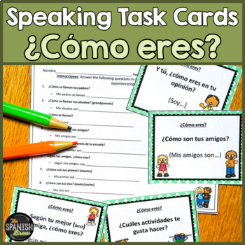 BUNDLE Speaking cards Likes, description, adjectives (Realidades Spanish 1 1A-B)