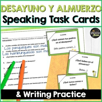 Speaking cards food, desayuno, almuerzo, cena (Realidades Spanish 1 3A-B)