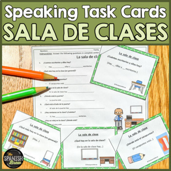 Speaking cards school, escuela, classroom, clase (Realidades Spanish 1 2A-B)