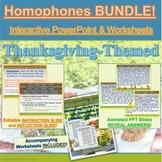 BUNDLE: Thanksgiving Homophones Interactive PowerPoint & W