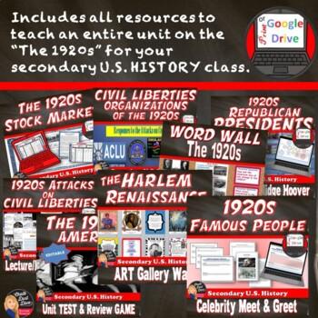 1920's (Roaring '20's) -BUNDLE  – 10 Day Unit Plan - Print and DIGITAL