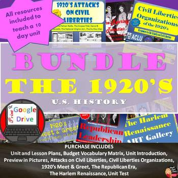 1920's (Roaring '20's) -BUNDLE  – 10 Day Unit Plan - Print and DIGITAL