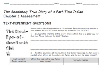 BUNDLE: The Absolutely True Diary of a Part Time Indian - Novel Study
