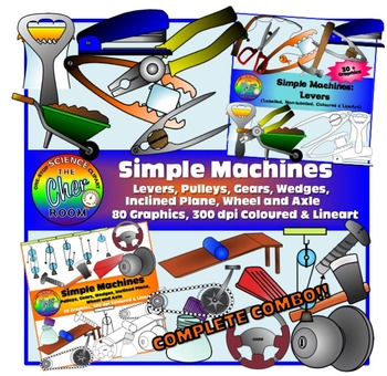 Simple Machines Clipart (Levers + Pulleys + Gears ETC)