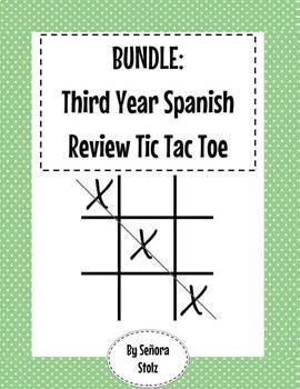 BUNDLE Third Year Spanish Review Tic Tac Toe