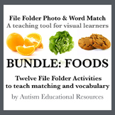 BUNDLE: Twelve File Folder Activities teaching Matching & Vocabulary of Foods