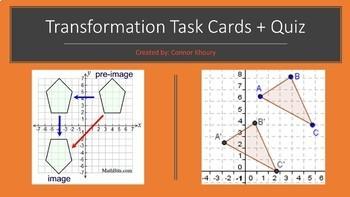 BUNDLE - Transformations Quiz + Task Cards
