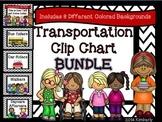 BUNDLE-Transportation Clip Chart (Includes 8 Different Colored Chevron Borders)