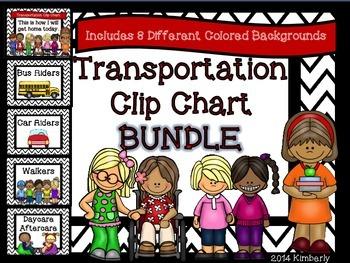 BUNDLE-Transportation Clip Chart (Includes 8 Different Col