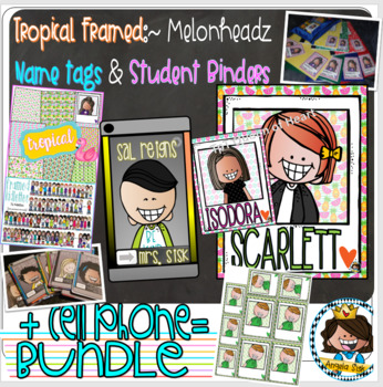 BUNDLE {Tropical} + Binders + Labels + Cell phone name tags / 72 of ea