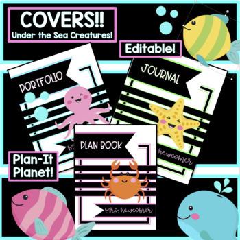 BUNDLE!!  UNDER THE SEA/OCEAN-Binder Covers and Room Decor!!! (EDITABLE!)