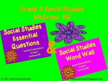 BUNDLE!! U.S History (Gr 5) - McGraw Hill Word Wall & Essential Questions
