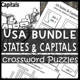 BUNDLE: USA Maps, States & Capitals Crossword Puzzle Sheets