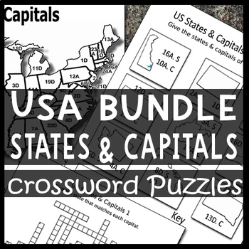 BUNDLE: USA Maps, States & Capitals Crossword Puzzle Sheets